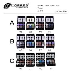 Farres Тени для век 6 цветные ART1012 A,B,С mix 4шт